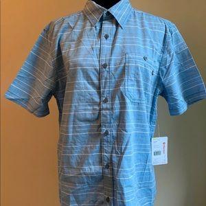 Men's Marmot Button-Front Striped SS Shirt Medium